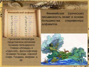 Письменность Финикийская (греческая) письменность лежит в основе большинства