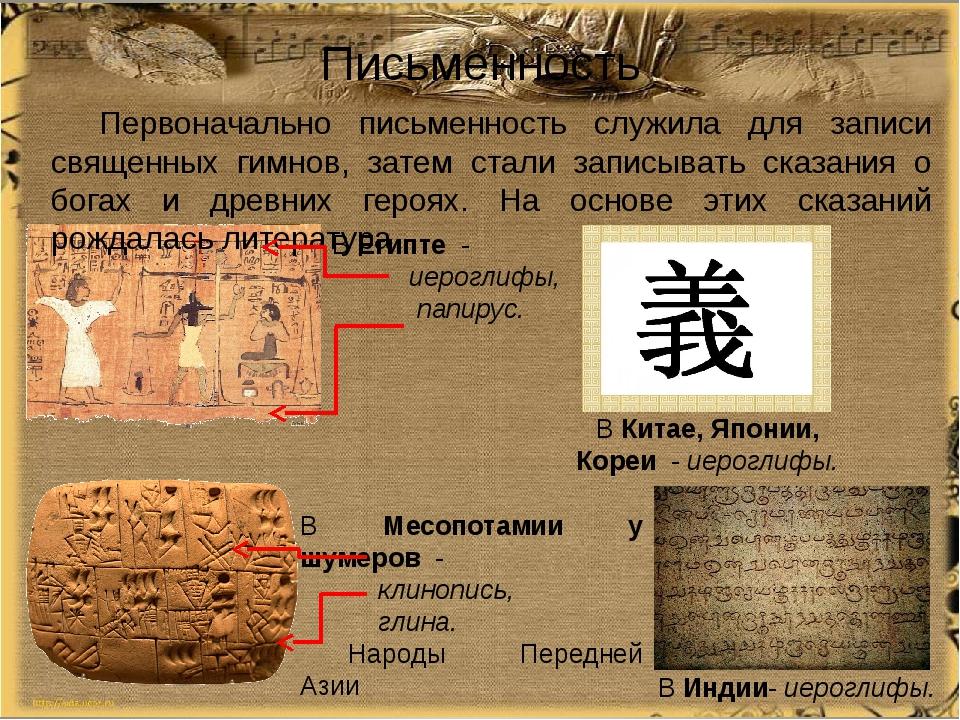 Письменность Первоначально письменность служила для записи священных гимнов,...
