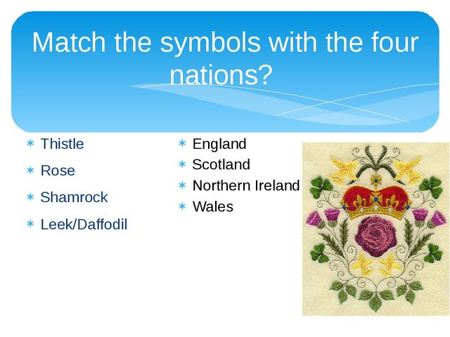 Match the symbols with the four nations? Thistle Rose Shamrock Leek/Daffodil...