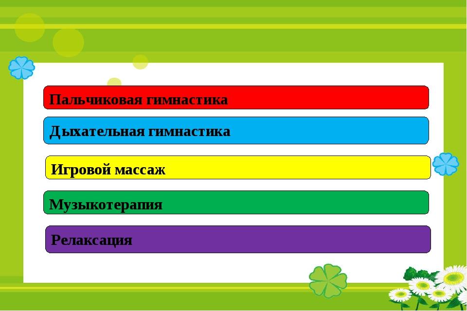 Пальчиковая гимнастика Дыхательная гимнастика Игровой массаж Музыкотерапия Ре...