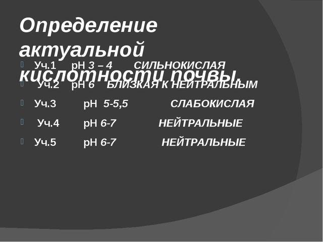 Определение актуальной кислотности почвы. Уч.1 pH 3 – 4 СИЛЬНОКИСЛАЯ Уч.2 pH...