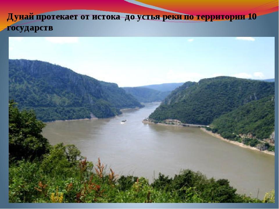 Дунай протекает от истока до устья реки по территории 10 государств