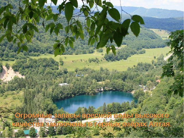 Огромные запасы пресной воды высокого качества заключены в горных озёрах Алтая.