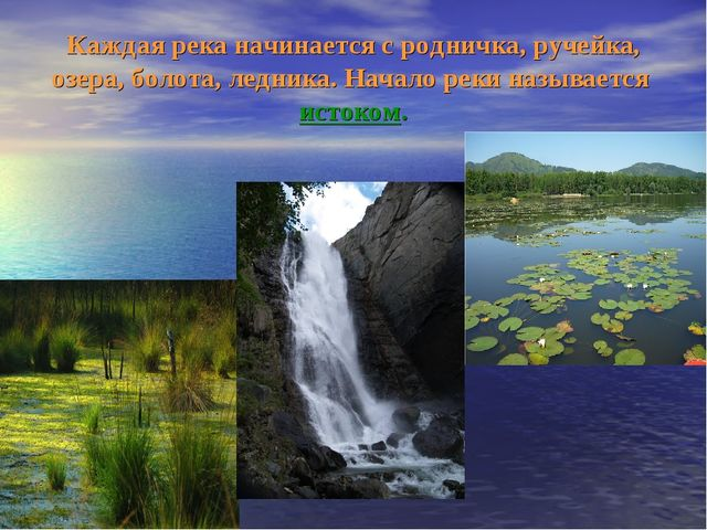 Каждая река начинается с родничка, ручейка, озера, болота, ледника. Начало ре...