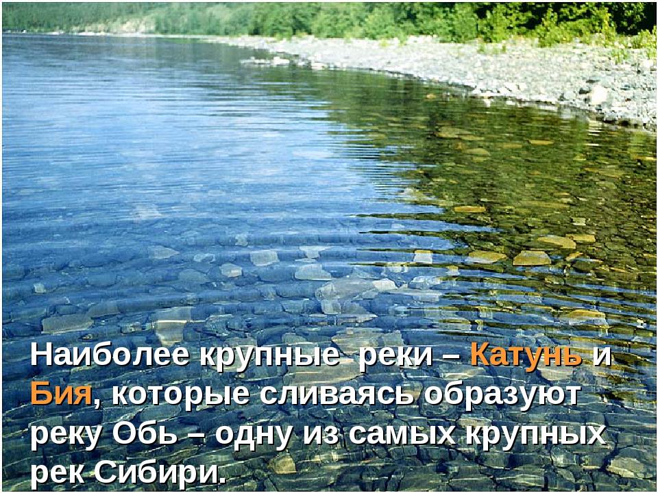 Наиболее крупные реки – Катунь и Бия, которые сливаясь образуют реку Обь – од...