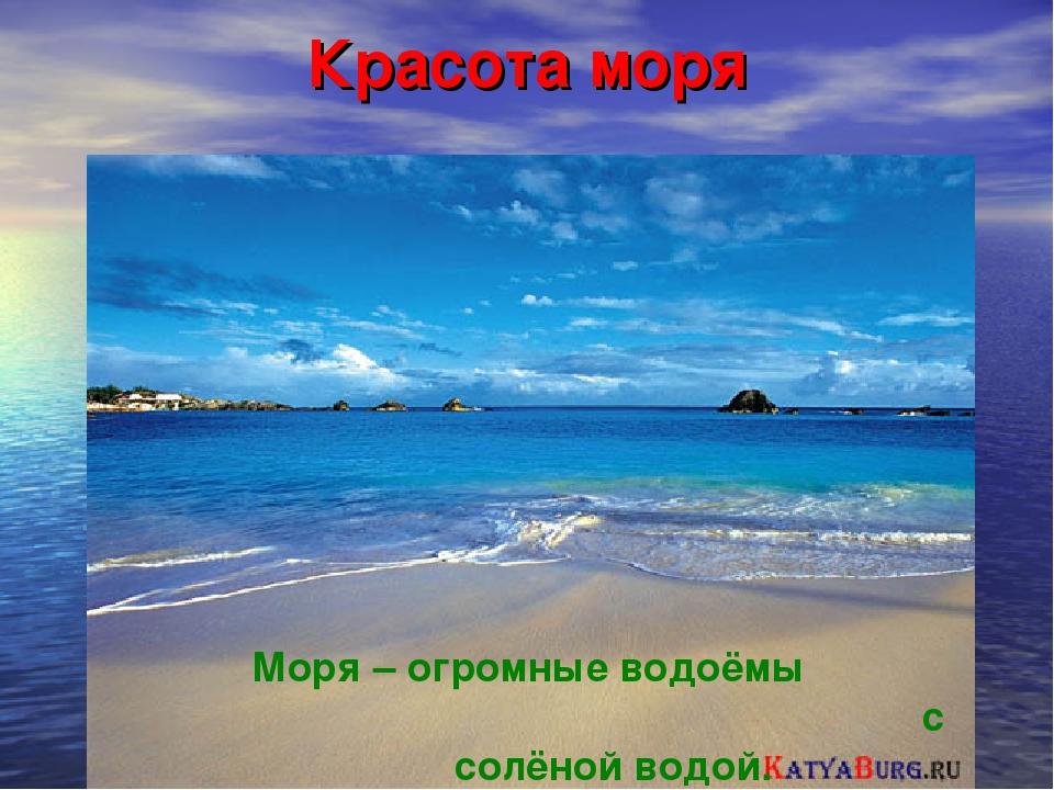 Красота моря Моря – огромные водоёмы с солёной водой.