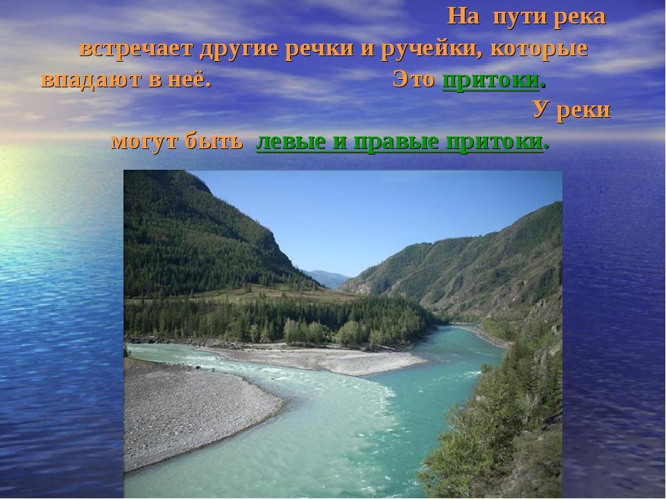 На пути река встречает другие речки и ручейки, которые впадают в неё. Это пр...