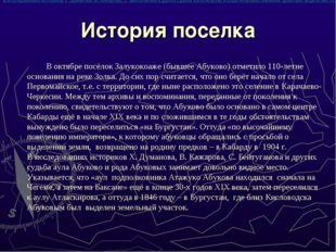 История поселка В октябре посёлок Залукокоаже (бывшее Абуково) отметило 110-л