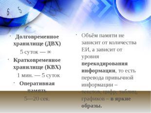 Долговременное хранилище (ДВХ) 5 суток — ∞ Кратковременное хранилище (КВХ) 1
