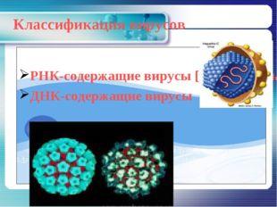 Классификация вирусов РНК-содержащие вирусы [ретровирусы] ДНК-содержащие вирусы