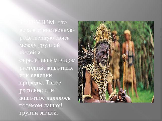 ТОТЕМИЗМ -это вера в таинственную родственную связь между группой людей и оп...