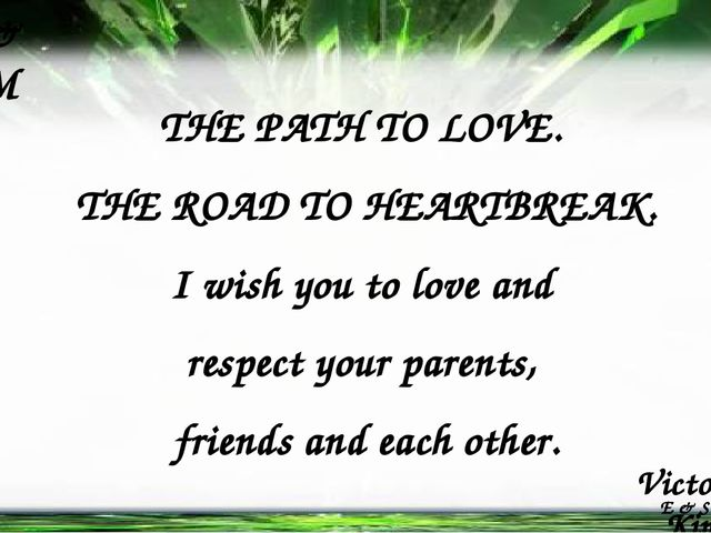 Victoria Kim K V E & S & M & E & S & M THE PATH TO LOVE. THE ROAD TO HEARTBRE...