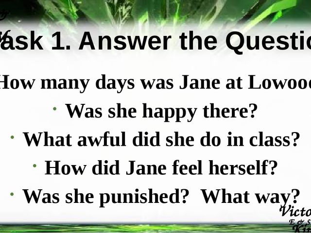 Task 1. Answer the Questions How many days was Jane at Lowood? Was she happy...