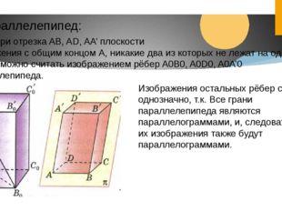 Параллелепипед: Любые три отрезка AB, AD, AA' плоскости Изображения с общим к