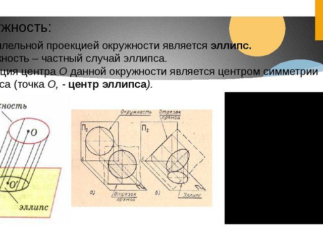 Окружность: Параллельной проекцией окружности является эллипс. Окружность – ч...