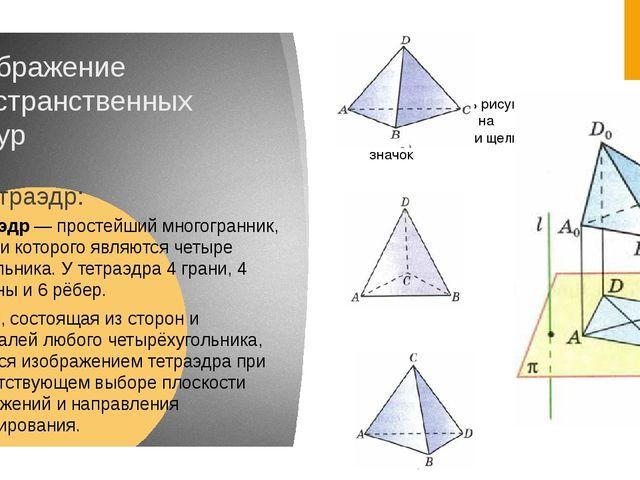 Изображение пространственных фигур Тетраэдр: Тетра́эдр — простейший многогран...