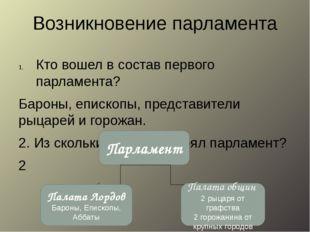 Возникновение парламента Кто вошел в состав первого парламента? Бароны, еписк