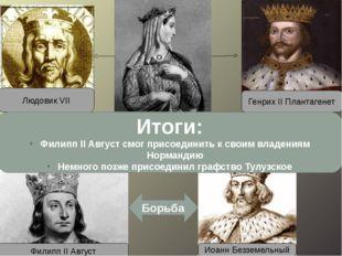 Людовик VII Генрих II Плантагенет После свадьбы в его руках оказалась Англия