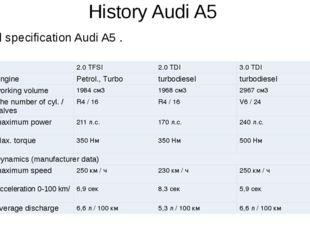 History Audi A5 Technical specification Audi A5 .  2.0 TFSI 2.0 TDI 3.0 TDI
