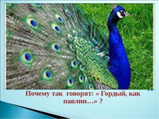 Почему так говорят: « Гордый, как павлин…» ?