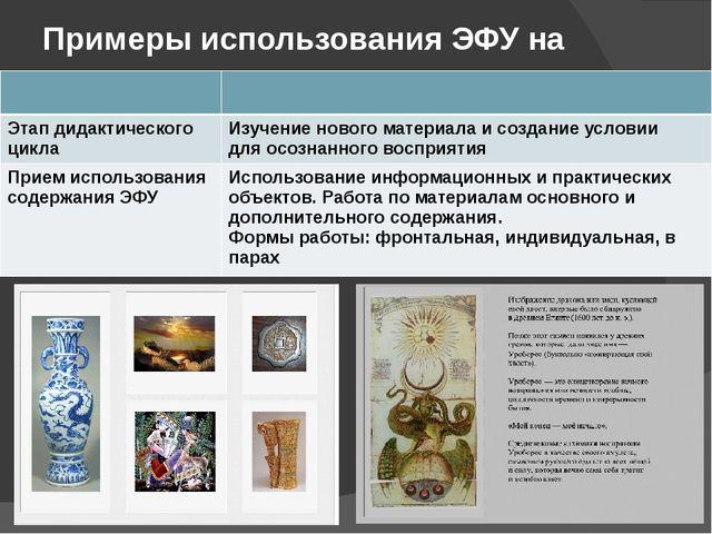 Примеры использования ЭФУ на уроке Этап дидактического цикла Изучение нового...