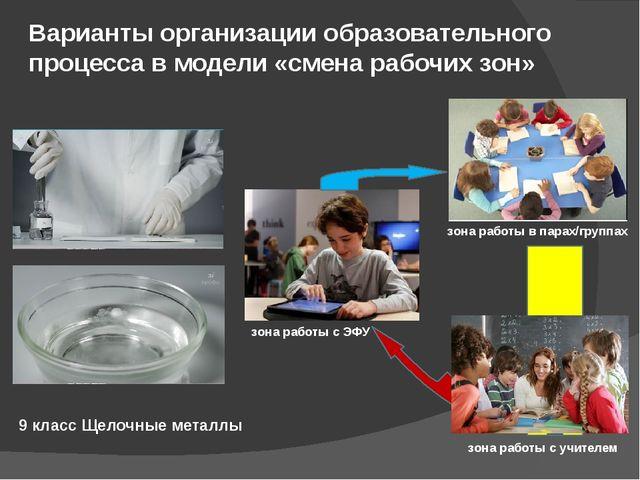Варианты организации образовательного процесса в модели «смена рабочих зон» 9...