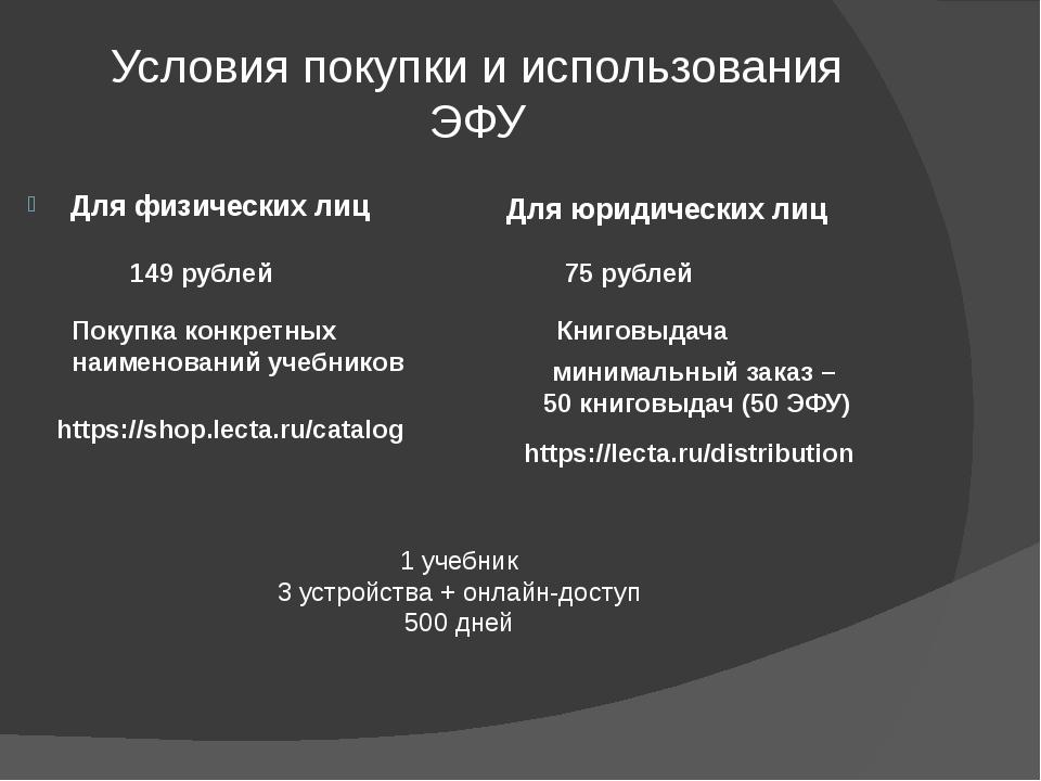 Условия покупки и использования ЭФУ Для физических лиц 149 рублей Покупка кон...