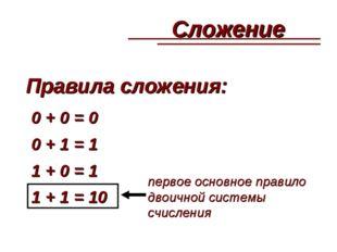 Правила сложения: 0 + 0 = 0 0 + 1 = 1 1 + 0 = 1 1 + 1 = 10 первое основное пр