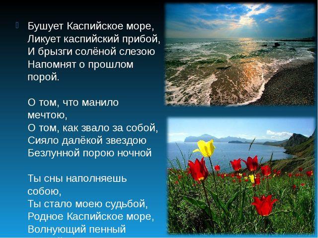 Бушует Каспийское море, Ликует каспийский прибой, И брызги солёной слезою Нап...