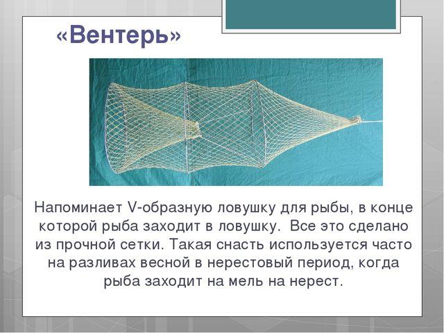 «Вентерь» Напоминает V-образную ловушку для рыбы, в конце которой рыба заходи...