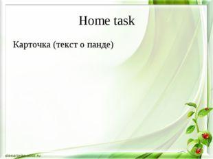 Home task Карточка (текст о панде)