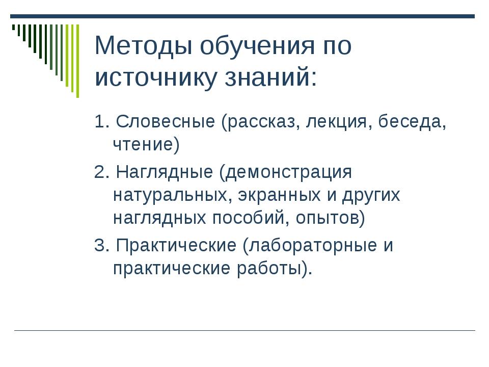 Методы обучения по источнику знаний: 1. Словесные (рассказ, лекция, беседа, ч...