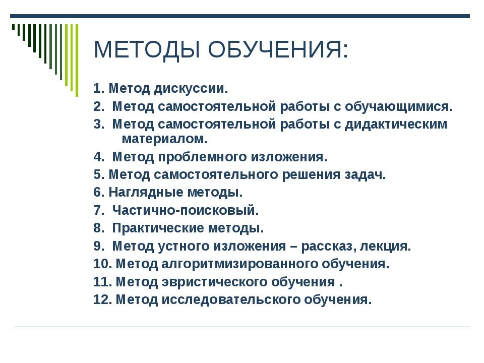 МЕТОДЫ ОБУЧЕНИЯ: 1. Метод дискуссии. 2. Метод самостоятельной работы с обучаю...