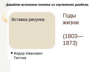 Годы жизни (1803—1873) Федор Иванович Тютчев Давайте вспомним поэтов из изуче