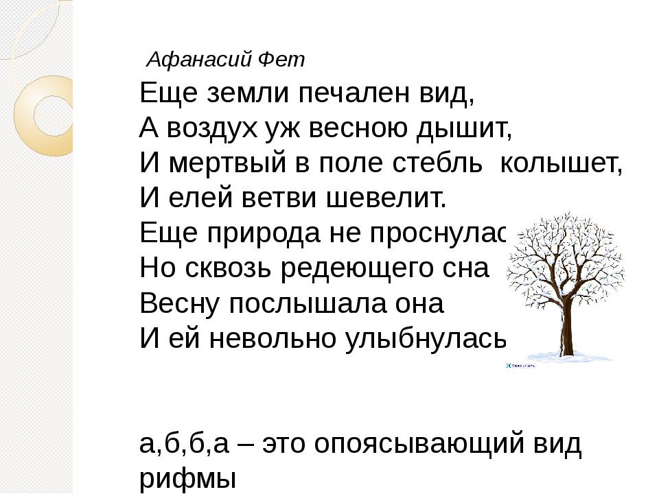 Афанасий Фет Еще земли печален вид, А воздух уж весною дышит, И мертвый в по...