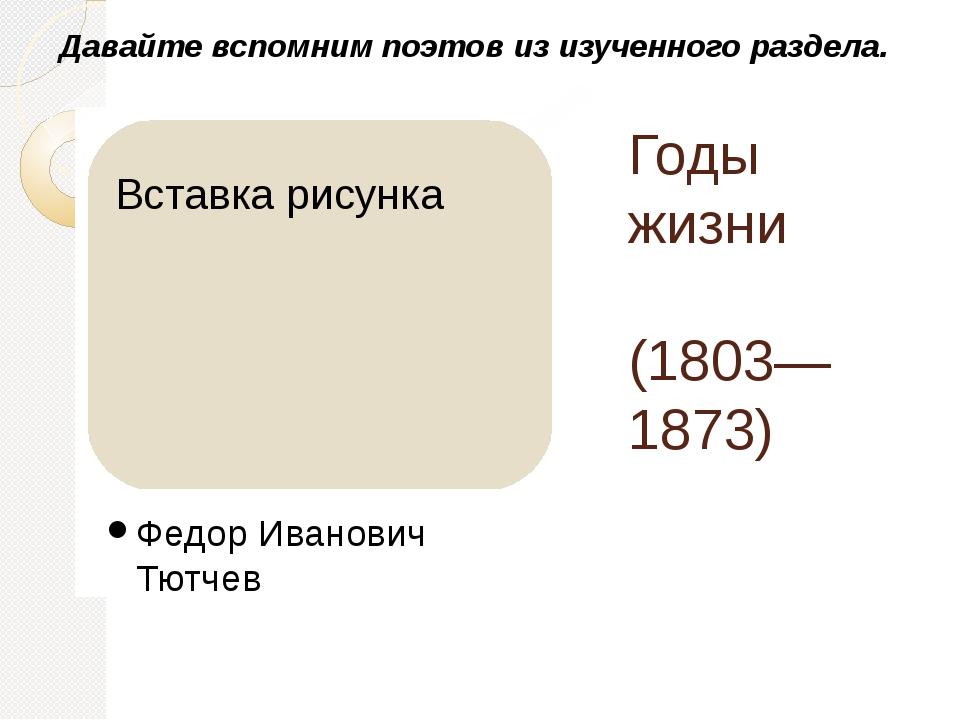 Годы жизни (1803—1873) Федор Иванович Тютчев Давайте вспомним поэтов из изуче...