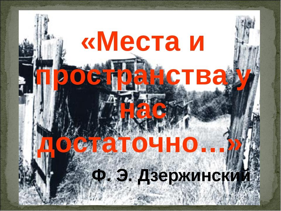 «Места и пространства у нас достаточно…» Ф. Э. Дзержинский