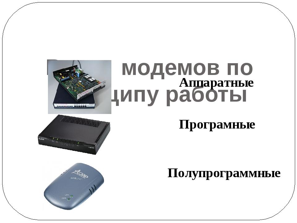 Виды модемов по принципу работы Аппаратные  Програмные Полупрограммные