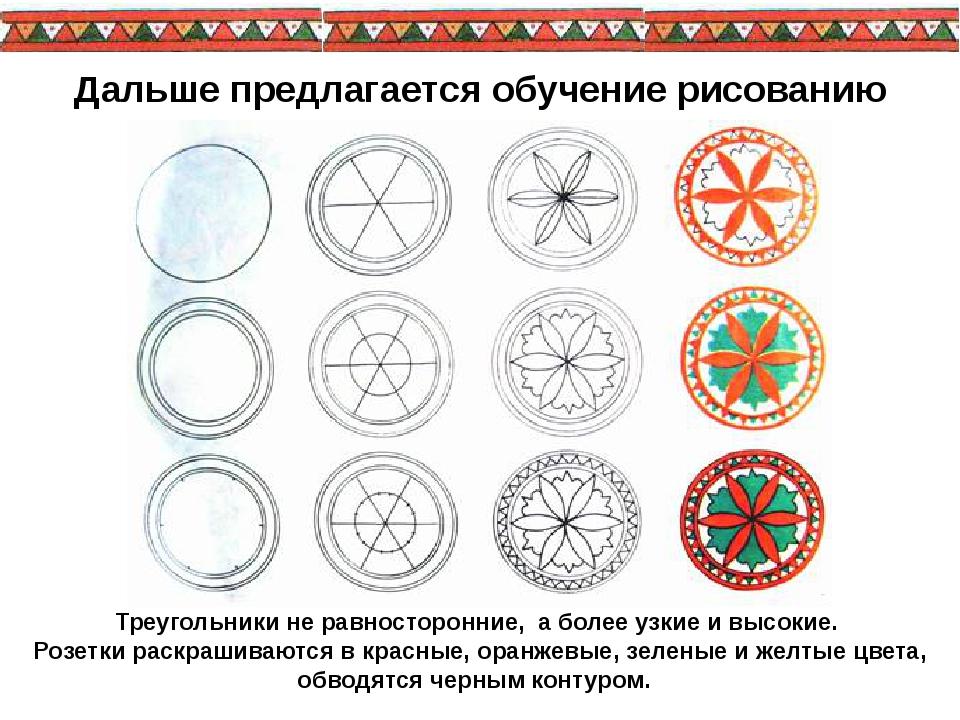 Треугольники не равносторонние, а более узкие и высокие. Розетки раскрашива...