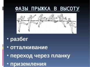 ФАЗЫ ПРЫЖКА В ВЫСОТУ разбег отталкивание переход через планку приземления
