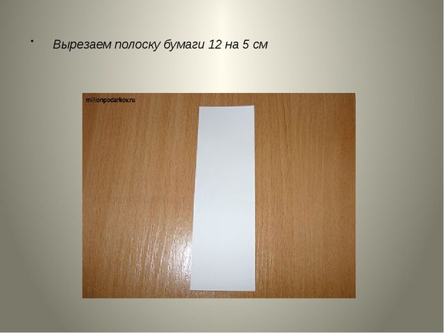 Вырезаем полоску бумаги 12 на 5 см