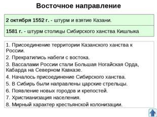 Восточное направление 1. Присоединение территории Казанского ханства к России