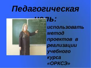 Педагогическая цель: использовать метод проектов в реализации учебного курса