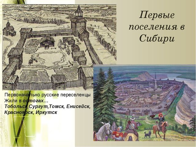 Первые поселения в Сибири Первоначально русские переселенцы Жили в остогах… Т...