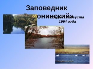 Заповедник «Воронинский» Создан 12 августа 1994 года