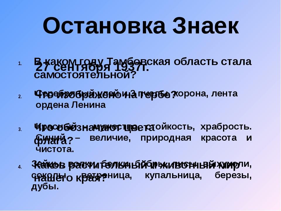 Остановка Знаек В каком году Тамбовская область стала самостоятельной? 27 сен...