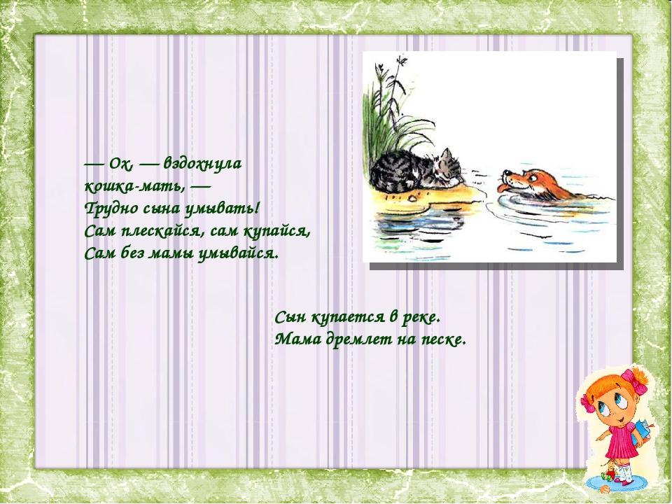 — Ox, — вздохнула кошка-мать, — Трудно сына умывать! Сам плескайся, сам купай...