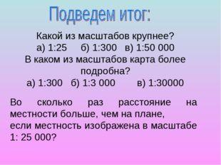 Какой из масштабов крупнее? а) 1:25б) 1:300в) 1:50 000 В каком из масштабов