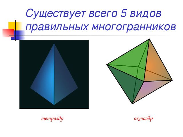 Существует всего 5 видов правильных многогранников тетраэдр октаэдр