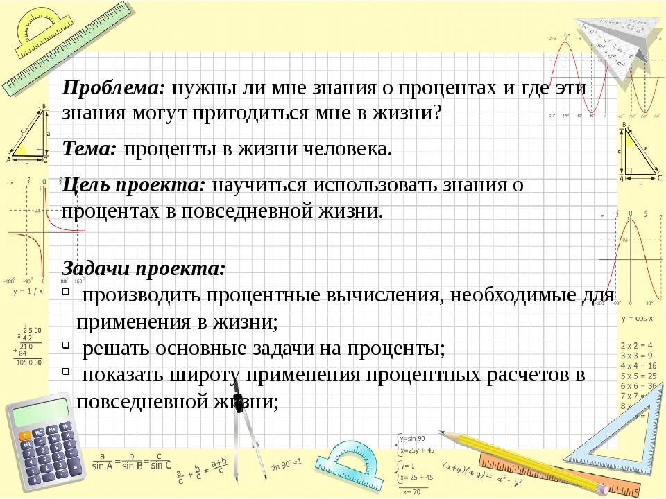 Цель проекта: научиться использовать знания о процентах в повседневной жизни....